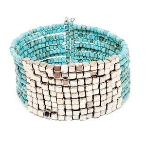 Turquoise Color Seed Bead Cuff Bracelet Boho